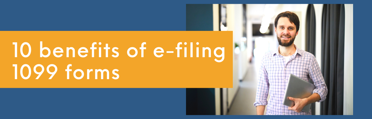 10 benefits of e-filing 1099 forms featuring young male entrepreneur who completed e-filing 1099 forms with eFile360.