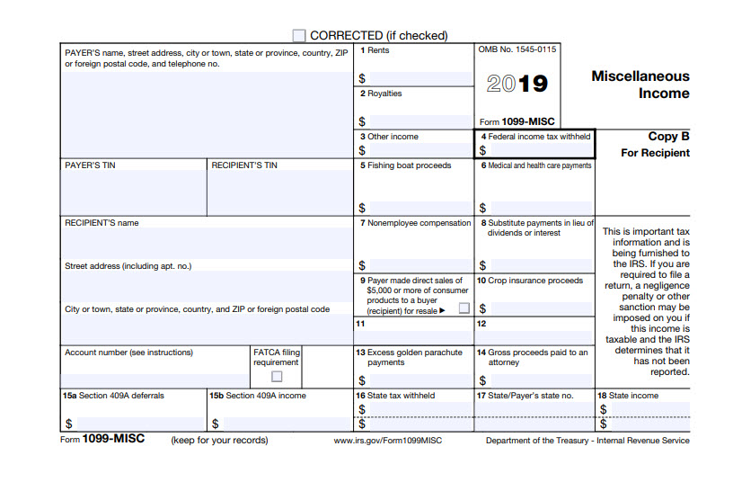 2019 1099-MISC form