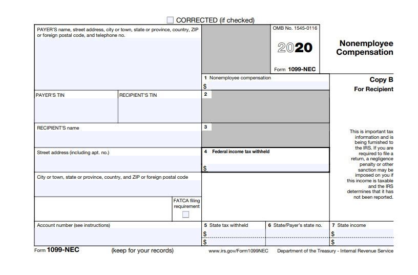 Form 1099-NEC for the recipient