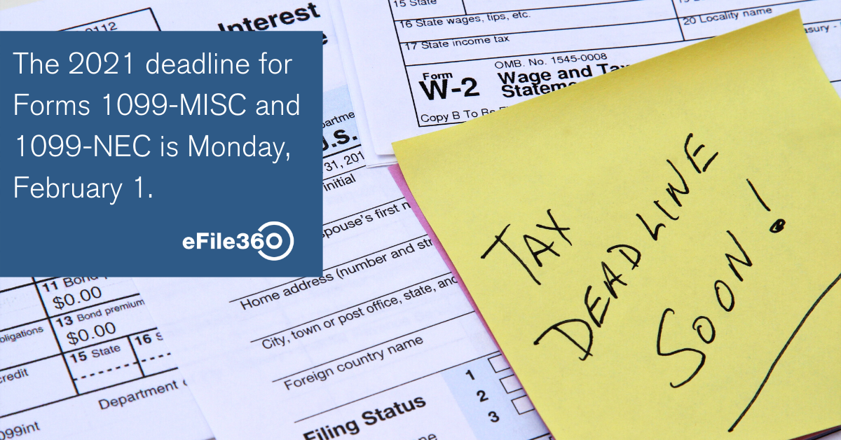 The 2021 deadline for Forms 1099-MISC and 1099-NEC is Monday, February 1